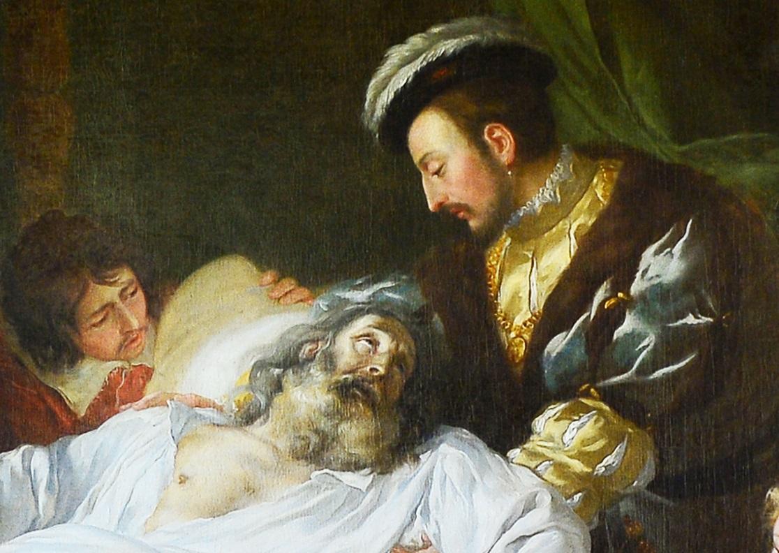 Francesco I al capezzale di Leonardo da Vinci lo tiene tra le sue braccia