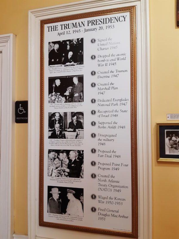 Truman Little White House, cronologia del presidente Truman
